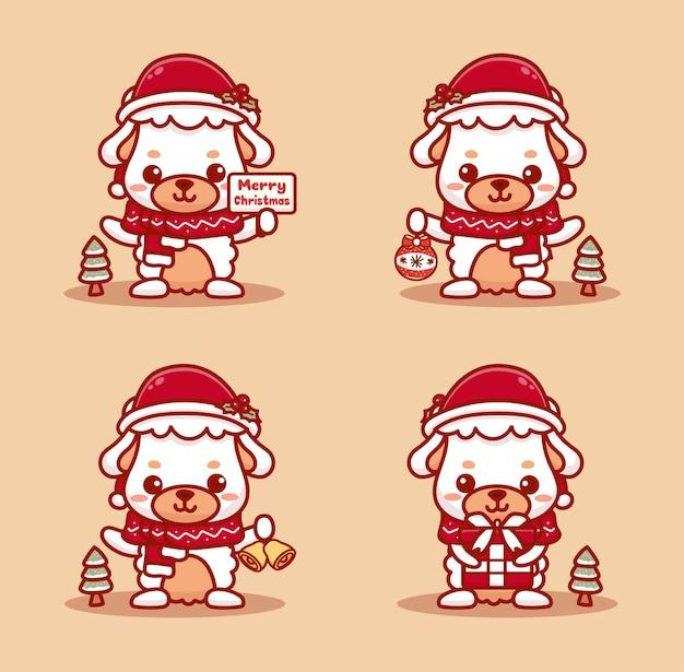 크리스마스를 축하하는 귀여운 양고기 세트입니다. 선물, 징글벨, 메리 크리스마스 텍스트를 들고 있습니다.