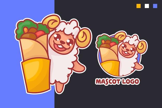 선택적 모양의 귀여운 양고기 케밥 마스코트 로고 세트. 귀엽다