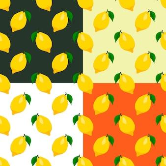 かわいいレモンのシームレスなパターンのセット。ベクトルeps8イラスト。