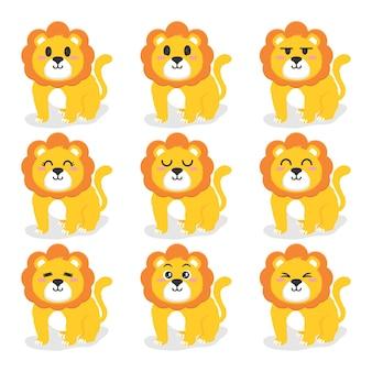 かわいいライオンフラットデザインイラストのセット