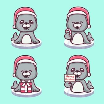 크리스마스를 축하하는 귀여운 사자 바다 세트입니다. 선물과 메리 크리스마스 텍스트를 들고 얼음 블록에 앉아. 귀여운 만화 벡터