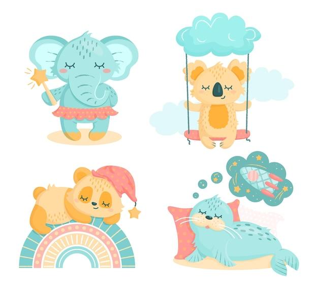 保育園のためのかわいい小動物のセット。パンダ、コアラ、アザラシと虹の象、魔法の杖