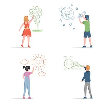 かわいい男の子と女の子の描画のセット