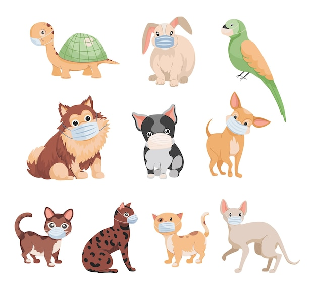 Набор милых маленьких домашних животных в медицинских масках плоской иллюстрации, изолированные на белом фоне.