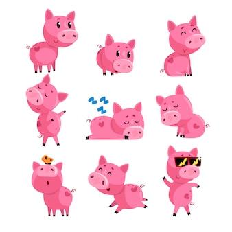 Набор милый поросенок в разных действиях. спать, танцевать, гулять, сидеть, прыгать. мультипликационный персонаж розового домашнего животного.