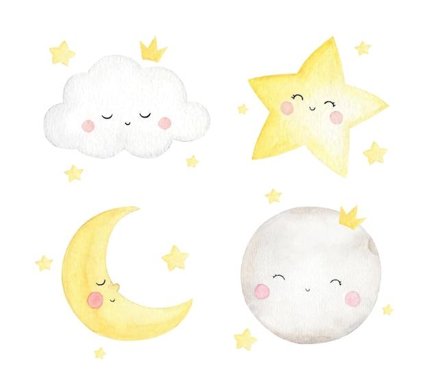Набор милых маленьких звезд и облака на акварели