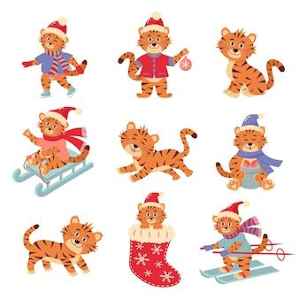 さまざまなポーズのかわいい小さな虎のキャラクターのセット。動物の休日の漫画のキャラクター。