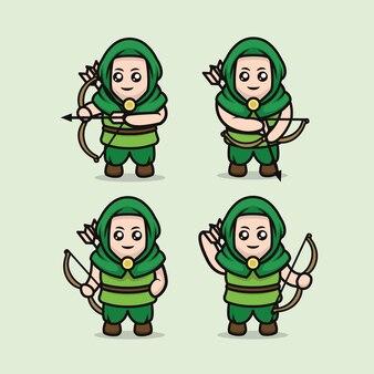 Набор милый средневековый лучник талисман дизайн шаблона иллюстрации