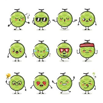 Набор милый фруктовый характер дыни в различных эмоциях действий