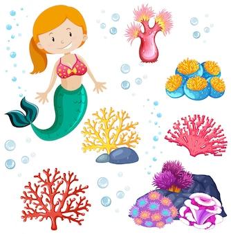 かわいい人魚と海のテーマのセット