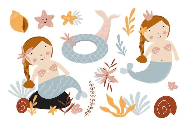 Набор милых русалок