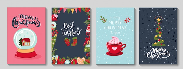 Набор милых поздравительных открыток с рождеством