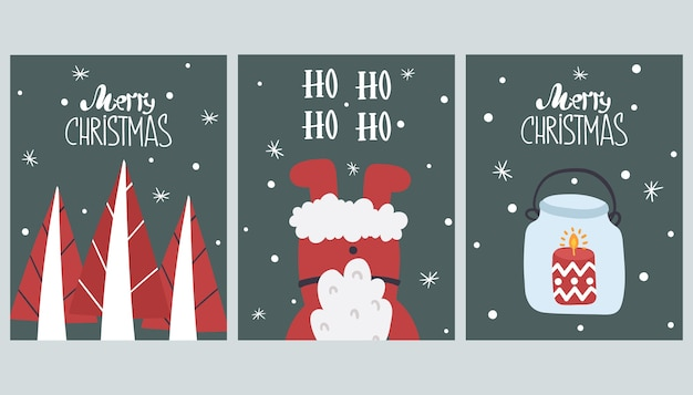 かわいいメリークリスマスグリーティングカードのセットです。