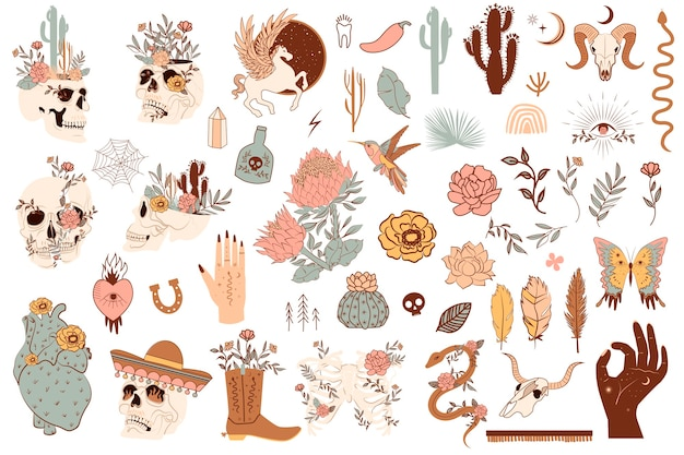 かわいいメキシコと野生の西のオブジェクトのセット。頭蓋骨、サボテン、ヘビ、馬、花の要素。編集可能