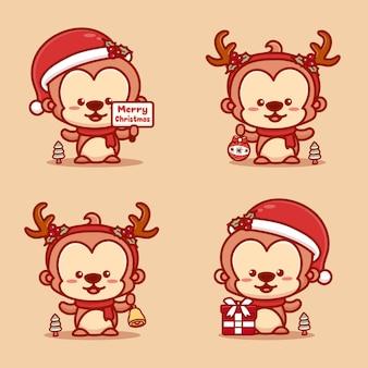 크리스마스를 축하하는 귀여운 원숭이 세트. 선물, 징글벨, 메리 크리스마스 텍스트를 들고 있습니다.
