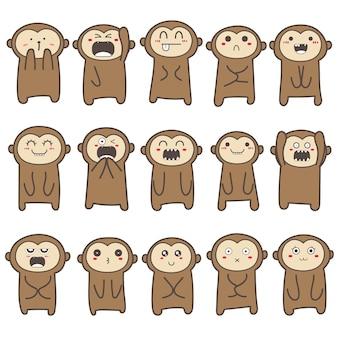 Набор милый дизайн персонажей обезьяны.