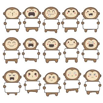 Набор милой обезьяны, держащей дизайн рекламного щита.