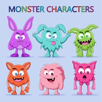かわいいモンスターのキャラクターイラストのセット