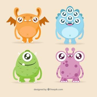 귀여운 괴물 캐릭터 세트