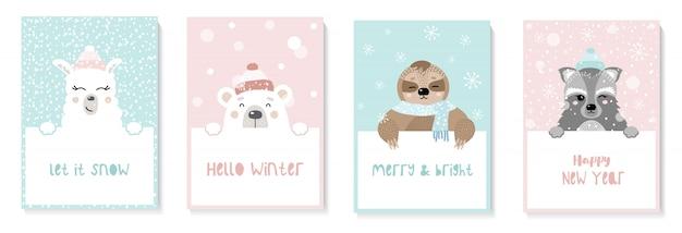 Набор милые новогодние открытки с животными. ленивец, лама, енот, медведь