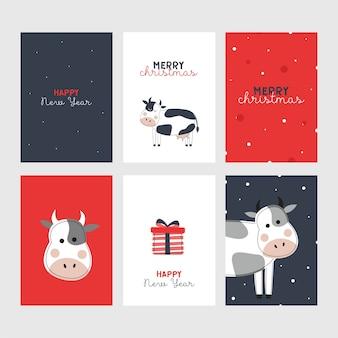 牛とかわいい年賀状のセットです。雄牛の年。新年。メリークリスマス。