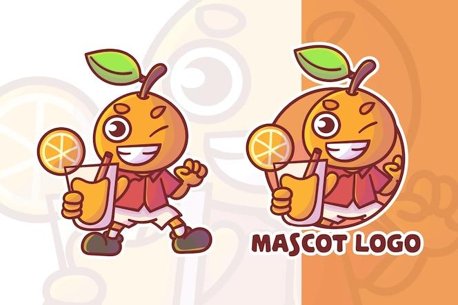 선택적 모양의 귀여운 오렌지 주스 마스코트 로고 세트