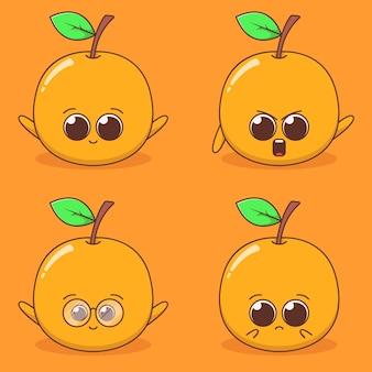 かわいいオレンジの表現イラストのセット