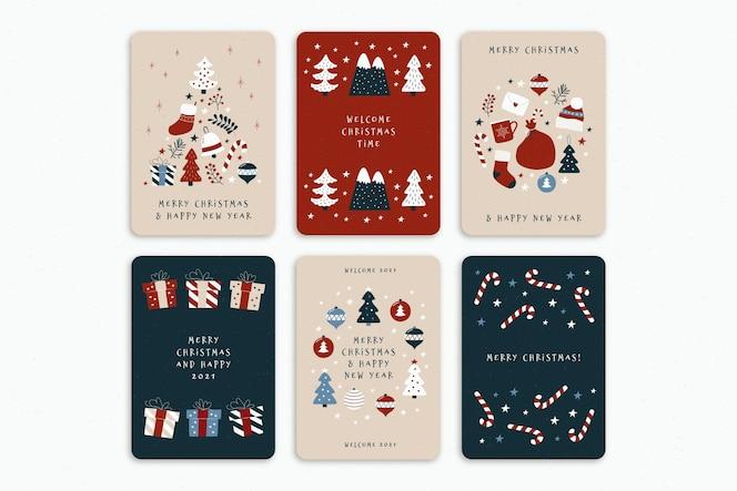 Набор милых органических рождественских открыток