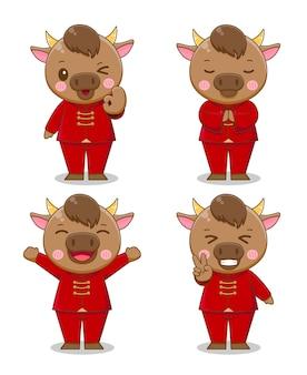 赤いスーツの漫画、幸せな中国の旧正月のかわいい牛のセット