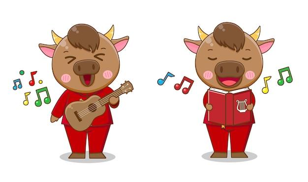 赤いスーツの漫画の歌とギターを弾くかわいい牛のセット、幸せな中国の旧正月