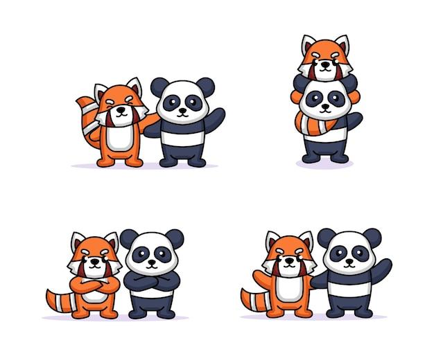 Набор милой панды и дизайна талисмана красной панды