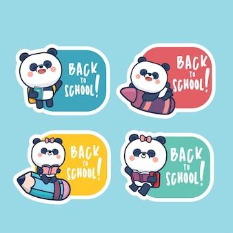 학교 라벨 스티커 템플릿 일러스트 태그 만화 스타일로 다시 귀여운 팬더 세트