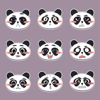 さまざまな表情の感情を持つかわいいパンダの顔のセットステッカー絵文字のデザイン