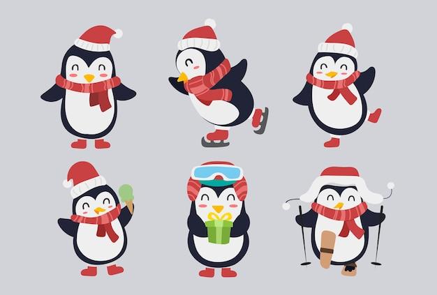 Набор милый дизайн персонажей пингвина. счастливый и забавный мультфильм птиц на рождество с подарками, коньками и декоративными элементами. зимние животные векторные иллюстрации.