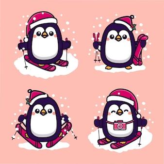 Набор милый пингвин на лыжах в холодную зиму. каваи мультфильм векторные иллюстрации