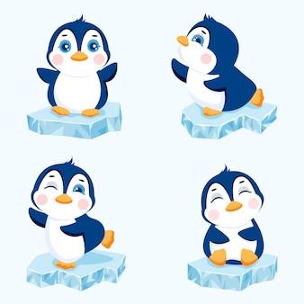 流氷の上のかわいいペンギンのセット