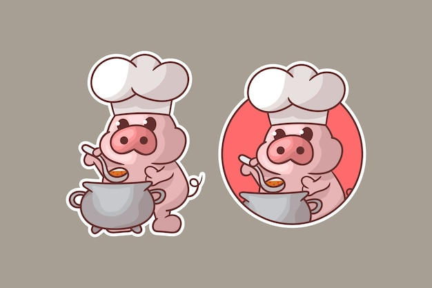 선택적 모양의 귀여운 돼지 요리사 마스코트 로고 세트.