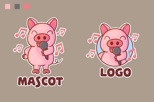 옵션 모양의 귀여운 돼지 노래 마스코트 로고 세트.