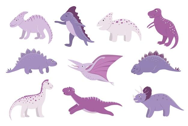 Набор милых розовых и фиолетовых динозавров для детей