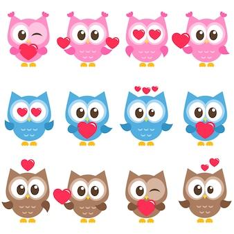 Набор милых розовых, синих и коричневых сов с сердечками