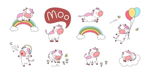 かわいいピンクの牛のセット