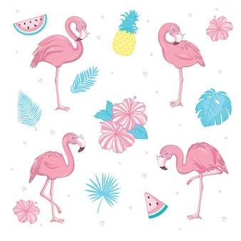 귀여운 핑크 플라밍고의 집합입니다. 여름 그림