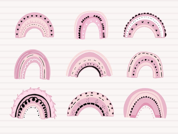 かわいいピンクの虹のセット