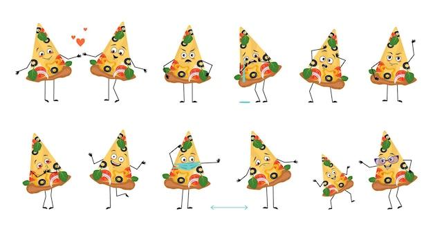 Набор милых персонажей пиццы с эмоциями лица руками