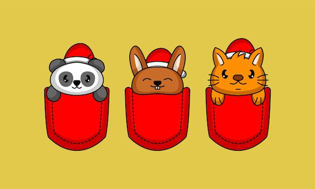 Набор милых карманных животных в шляпе санты