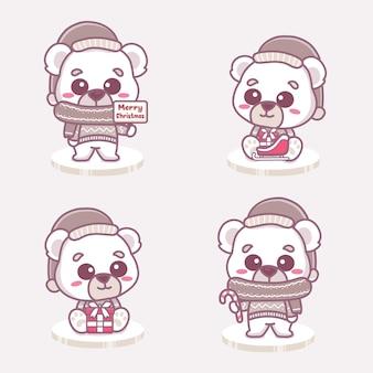 크리스마스를 축하하는 귀여운 북극곰 소년 세트. 선물 및 메리 크리스마스 텍스트를 들고입니다.