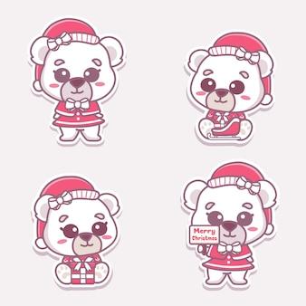 크리스마스를 축하하는 귀여운 북극곰 소녀 세트. 선물 및 메리 크리스마스 텍스트를 들고입니다.