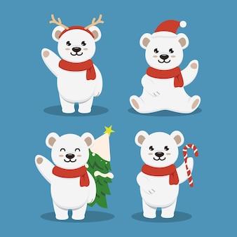 Набор милый полярный ледяной медведь рождественский талисман дизайн иллюстрации
