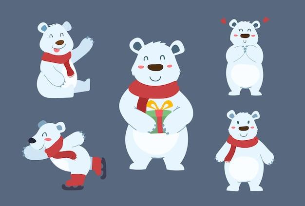 귀여운 북극곰 캐릭터 디자인 세트입니다. 크리스마스 벡터 일러스트 레이 션에 대 한 행복 하 고 재미있는 만화입니다.