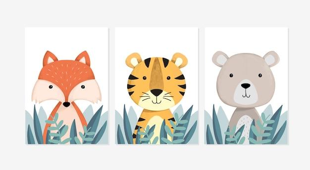 キツネ、トラ、クマのデザインイラストとかわいいポスターのセット
